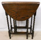 Small Oval Oak Dropleaf Barley Twist Gateleg Table